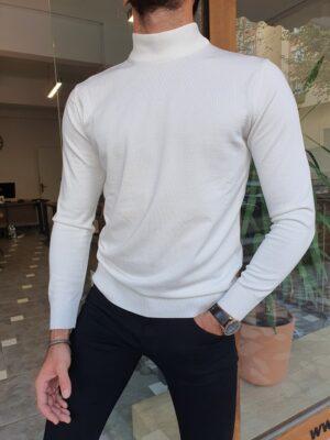White Slim Fit Mock Turtleneck Sweater
