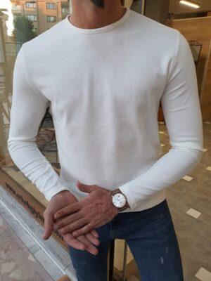 White Slim Fit Round Neck Sweater