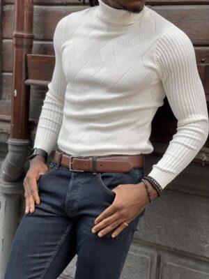 White Slim Fit Turtleneck Sweater