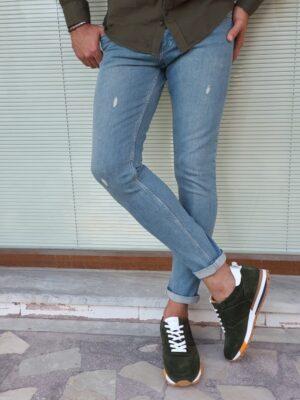 Pelion Blue Slim Fit Ripped Jeans